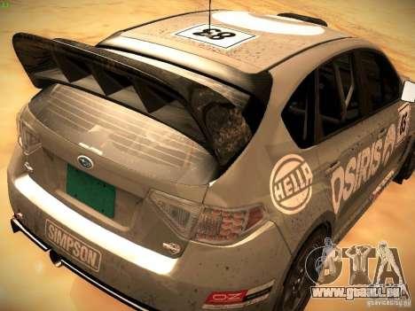 Subaru Impreza Gravel Rally pour GTA San Andreas vue arrière
