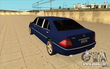 Mercedes-Benz S600 Pullman W220 für GTA San Andreas zurück linke Ansicht