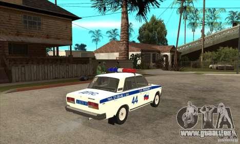 VAZ 2107 Police pour GTA San Andreas vue de droite