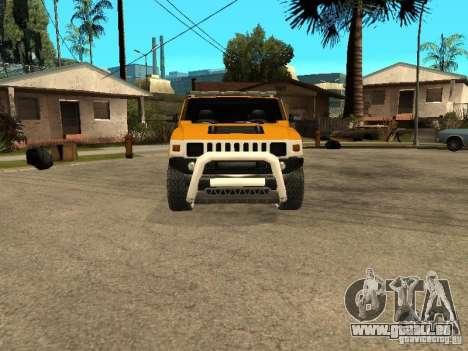 Hummer H2 4x4 diesel pour GTA San Andreas laissé vue