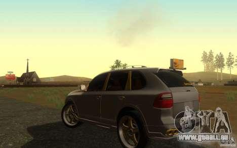 Porsche Cayenne gold pour GTA San Andreas sur la vue arrière gauche
