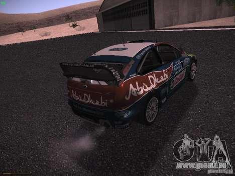 Ford Focus RS WRC 2010 für GTA San Andreas zurück linke Ansicht