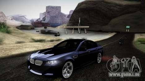 BMW M5 F10 pour GTA San Andreas laissé vue