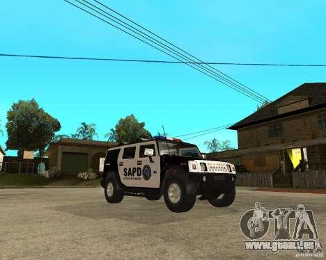 AMG H2 HUMMER SUV SAPD Police pour GTA San Andreas vue arrière