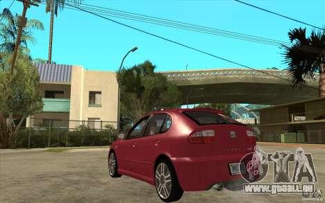 Seat Leon Cupra - Stock pour GTA San Andreas sur la vue arrière gauche