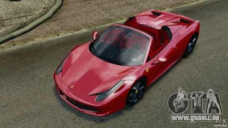 Ferrari 458 Spider 2013 v1.01 pour GTA 4 est une vue de dessous