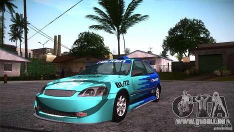 Honda Civic Tuneable pour GTA San Andreas vue de dessous