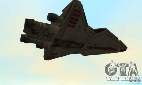 Republic Attack Cruiser Venator class v3 für GTA San Andreas Rückansicht