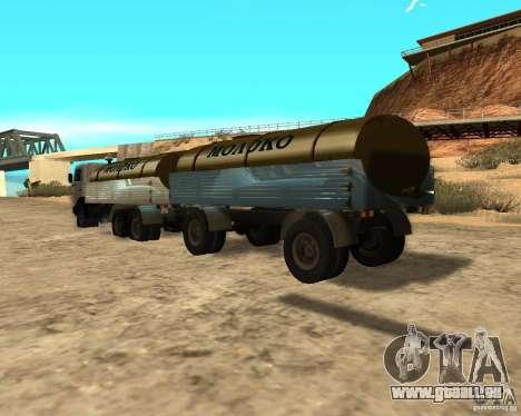 Remorque pour tanker lait Kamaz 53212 pour GTA San Andreas sur la vue arrière gauche