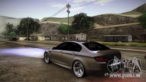 BMW M5 F10 pour GTA San Andreas sur la vue arrière gauche