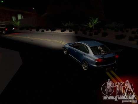 Mitsubishi Lancer Evolution X Time Attack pour GTA San Andreas vue de dessous