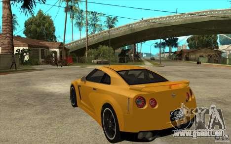 Nissan GT-R R35 pour GTA San Andreas sur la vue arrière gauche