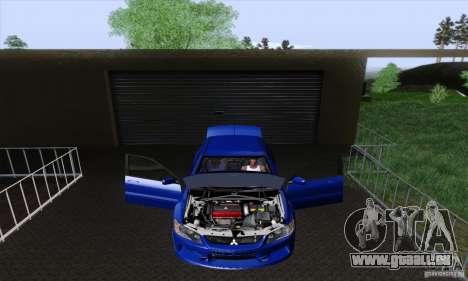 Mitsubishi Lancer Evolution 9 MR Edition pour GTA San Andreas vue intérieure