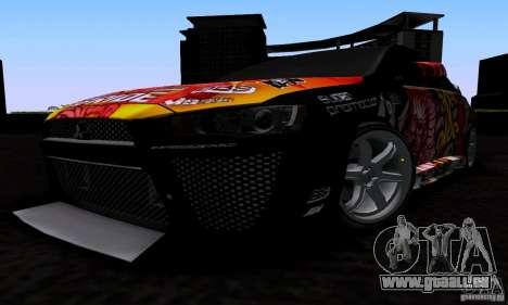 Mitsubishi Lancer Evolution X 2008 für GTA San Andreas Seitenansicht