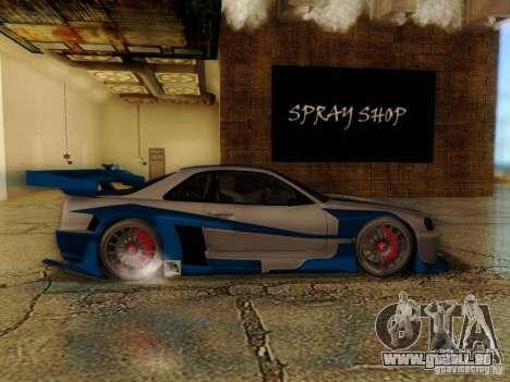 Nissan Skyline GTR34 DTM pour GTA San Andreas sur la vue arrière gauche