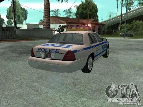Ford Crown Victoria NYPD pour GTA San Andreas sur la vue arrière gauche