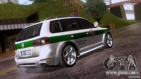 Volkswagen Touareg Policija für GTA San Andreas Rückansicht
