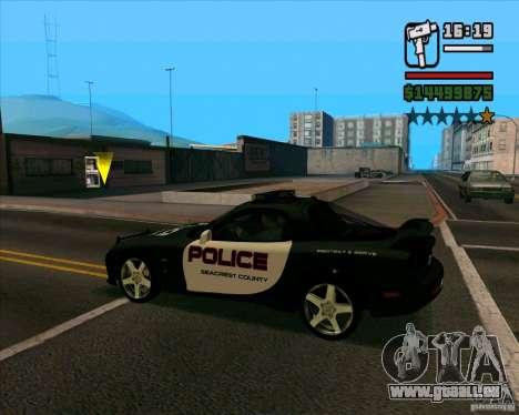 Mazda RX-7 FD3S Police pour GTA San Andreas sur la vue arrière gauche