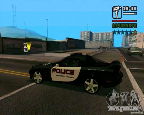 Mazda RX-7 FD3S Police für GTA San Andreas zurück linke Ansicht