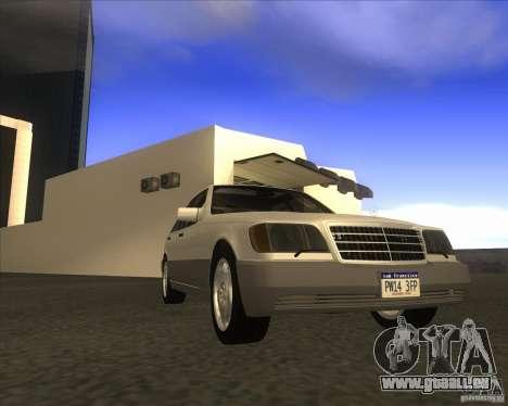 Mercedes Benz 400 SE W140 pour GTA San Andreas sur la vue arrière gauche