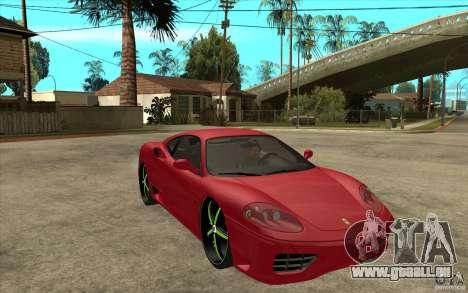 Ferrari 360 Modena für GTA San Andreas Rückansicht