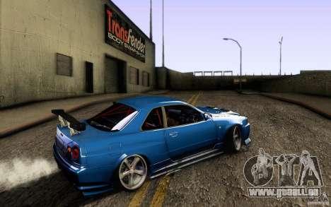 Nissan Skyline GT-R34 pour GTA San Andreas sur la vue arrière gauche