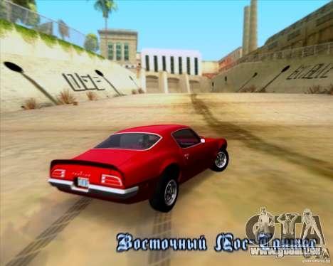 Pontiac Firebird 1970 pour GTA San Andreas vue de dessous