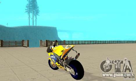 Honda Valentino Rossi Bf400 für GTA San Andreas zurück linke Ansicht