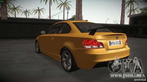 BMW 135i Coupe Road Edition pour GTA San Andreas sur la vue arrière gauche