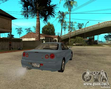 Nissan SkyLine R-34 Tunable pour GTA San Andreas vue arrière