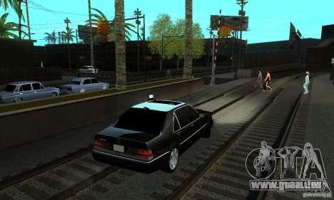Mercedes-Benz 400 SE w140 Deputat Style für GTA San Andreas zurück linke Ansicht