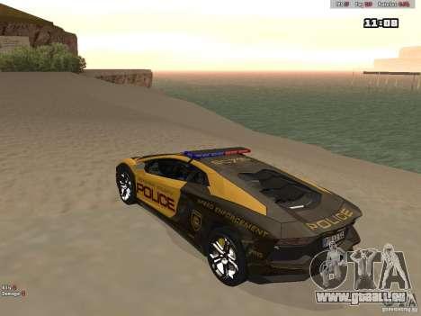 Lamborghini Aventador LP700-4 Police für GTA San Andreas zurück linke Ansicht