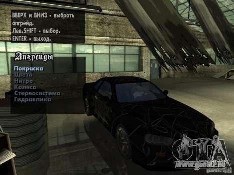 Nissan Skyline GT-R34 V-Spec für GTA San Andreas Innenansicht