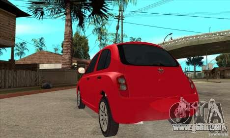 Nissan Micra für GTA San Andreas zurück linke Ansicht