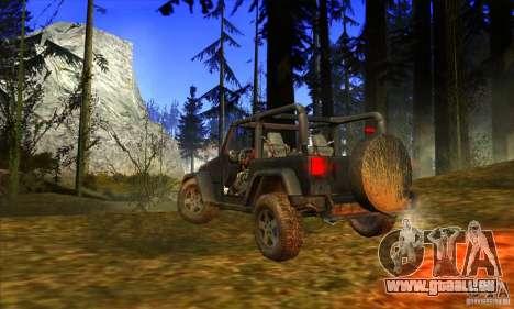 Jeep Wrangler pour GTA San Andreas vue de droite