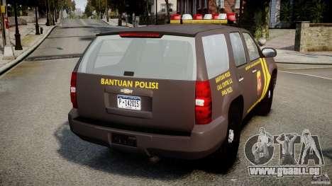 Chevrolet Tahoe Indonesia Police pour GTA 4 Vue arrière de la gauche