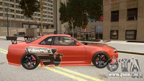 Nissan Skyline GT-R R34 Underground Style pour GTA 4 est une vue de l'intérieur