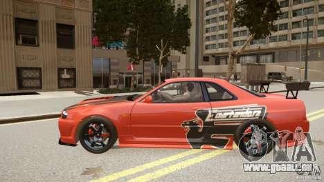 Nissan Skyline GT-R R34 Underground Style pour GTA 4 est une gauche