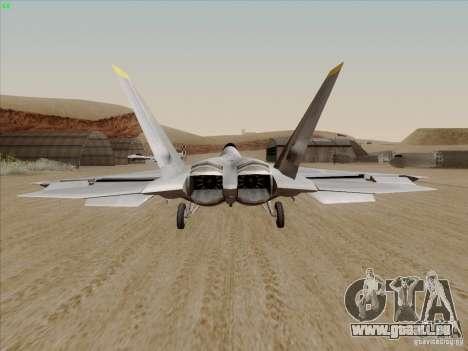 FA22 Raptor pour GTA San Andreas sur la vue arrière gauche
