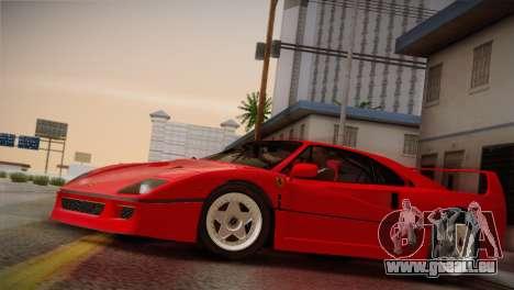 Ferrari F40 1987 pour GTA San Andreas vue intérieure