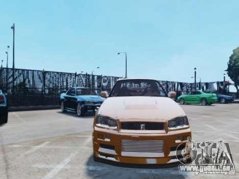 Nissan Skyline GT-R R34 Fast and Furious 4 für GTA 4 Seitenansicht