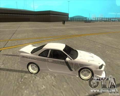 Nissan Skyline R34 Veilside street drag pour GTA San Andreas vue arrière