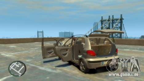 Daewoo Matiz Style 2000 pour GTA 4 est une vue de l'intérieur