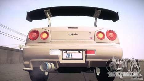 Nissan Skyline R34 für GTA San Andreas Räder