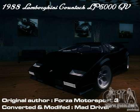 Lamborghini Countach für GTA San Andreas Seitenansicht