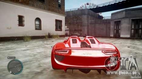 Porsche 918 Spyder Concept pour GTA 4 Vue arrière