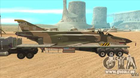 Flatbed trailer with dismantled F-4E Phantom für GTA San Andreas linke Ansicht