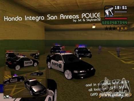 Honda Integra 1996 SA POLICE für GTA San Andreas
