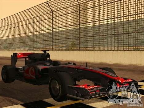 McLaren MP4-25 F1 pour GTA San Andreas vue de dessous
