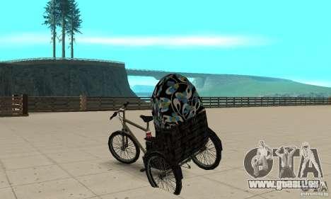 Manual Rickshaw v2 Skin3 pour GTA San Andreas sur la vue arrière gauche